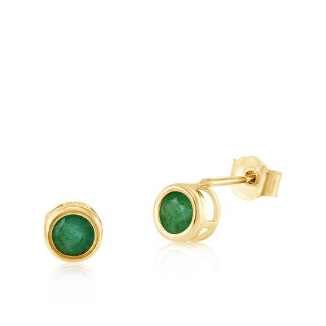 9ct Yellow Gold Emerald Rubover Stud Earrings - 4mm
