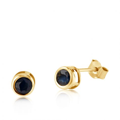 9ct Yellow Gold Sapphire Rub Over Stud Earrings - 4mm