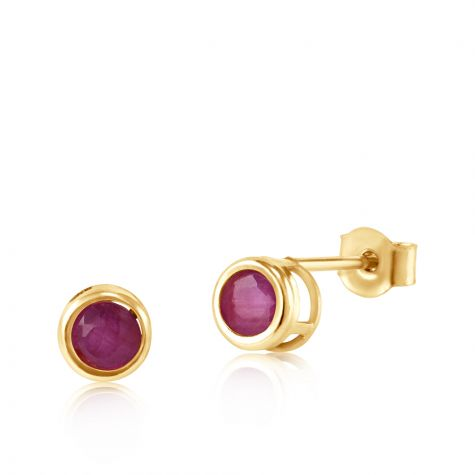 9ct Yellow Gold Ruby Rubover Stud Earrings - 4mm