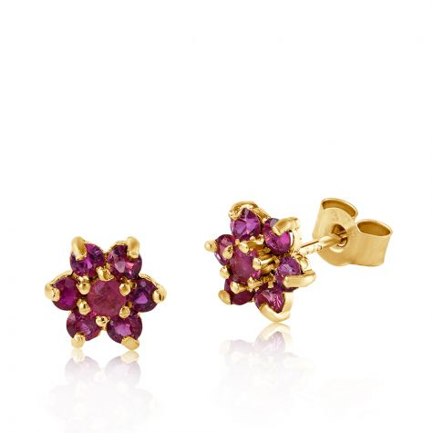 9ct Yellow Gold Ruby Cluster Flower Stud Earrings