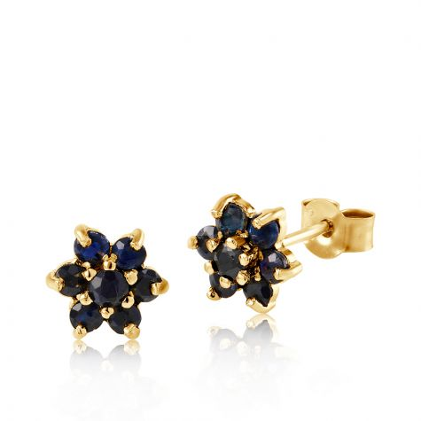 9ct Yellow Gold Sapphire Cluster Flower Stud Earrings