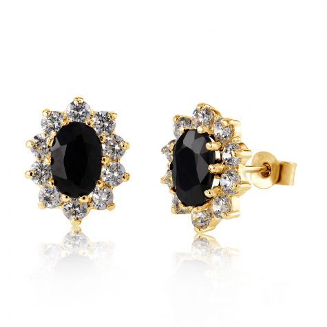 9ct Yellow Gold Sapphire & Cubic Zirconia Cluster Stud Earrings - 8mm