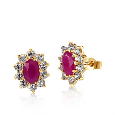 9ct Yellow Gold Ruby & Cubic Zirconia Cluster Stud Earrings - 8mm