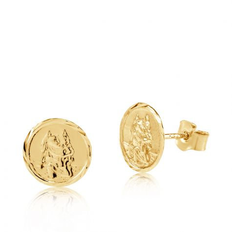 9ct Yellow Gold St Christopher Stud Earrings - 6mm