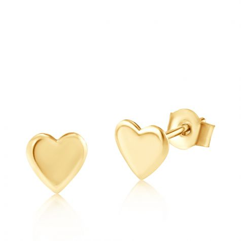 9ct Yellow Gold Small Heart Stud Earrings - 4mm