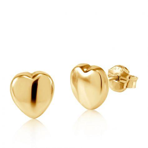 9ct Yellow Gold Heart Stud Earrings - 6mm