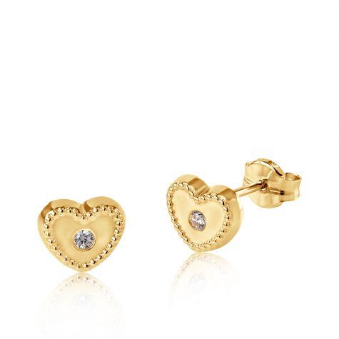 9ct Yellow Gold Milgrain Cubic Zirconia Heart Stud Earrings - 7mm