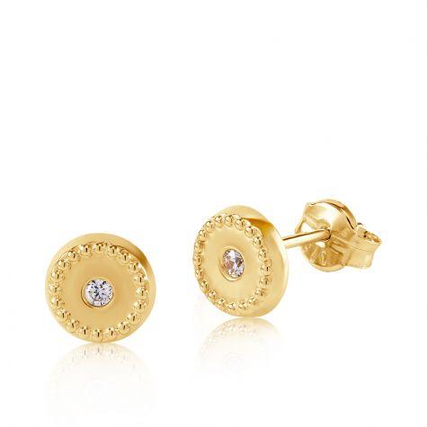 9ct Yellow Gold Milgrain Cubic Zirconia Round Stud Earrings - 6mm