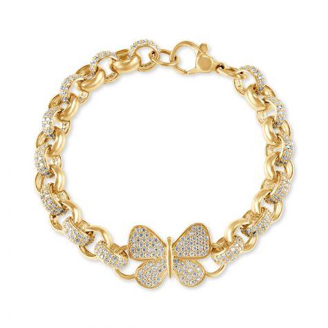 "9ct Gold Gem-Set Butterfly Belcher Bracelet - 7.5mm -6.5""-Childs"