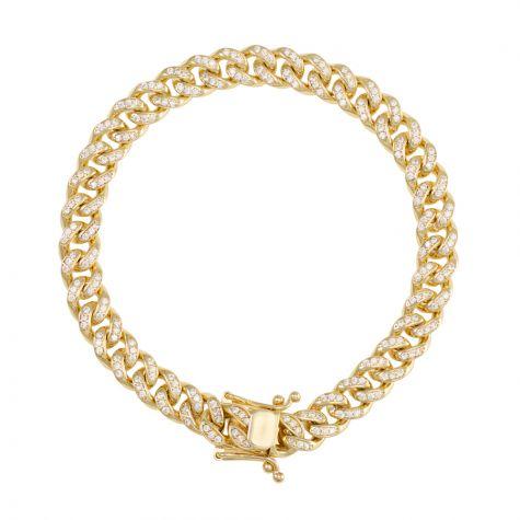 """Solid 9ct Gold Gem - Set Miami Cuban Link Bracelet - 8mm - 8.25"""""""
