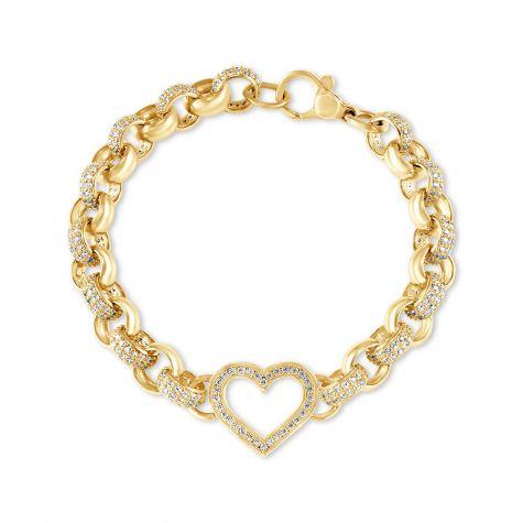 """9ct Gold Gem - Set Heart Belcher Bracelet - 7.5mm - 7.5""""- Ladies"""