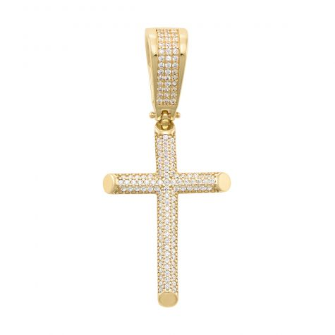 Solid 9ct Yellow Gold Polished Gem-Set Iced Out Cross Pendant