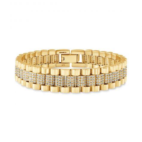 "Rolex Style 9ct Gold Gem Set Presidential Bracelet  6.75"" -ladies"