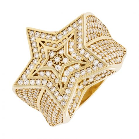 9ct Yellow Gold Gem-Set Triple Star Style Signet Ring - Gents