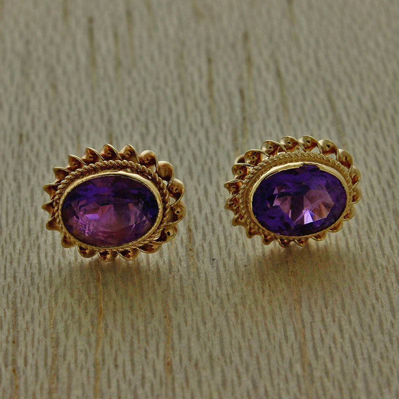 Details About Uk Hallmarked 9ct Yellow Gold Amethyst Stud Earrings Jr20