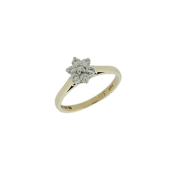 1984-UK-Hallmarked-9ct-Gold-0-30ct-Diamond-Cluster-Daisy-Ring-RRP-399-99-ZN8 thumbnail 2
