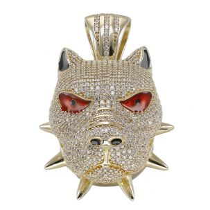 9ct Yellow Gold Iced Out Cubic Zirconia 3D Bulldog's Head Pendant