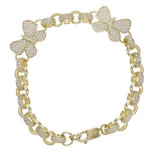 "9ct Yellow Gold Gem-Set Butterfly Belcher Bracelet - 7.5mm - 7.5"""