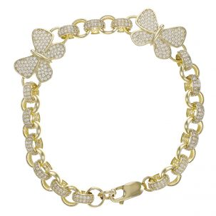 "9ct Gold Gem-Set 2 x Butterfly Belcher Bracelet - 7.5mm - 8"""