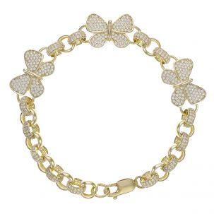 "9ct Gold Gem-Set Butterfly Belcher Bracelet - 7.5mm -6.5"" Child's"