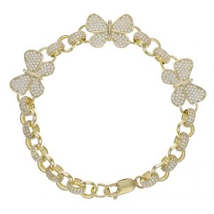 "9ct Gold Gem-Set 3 x Butterfly Belcher Bracelet - 7.5mm - 8"""
