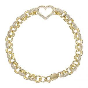 "Ladies 9ct Yellow Gold Gem-Set Heart Belcher Bracelet - 7.5mm 8"""