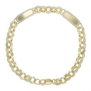 """9ct Gold Gem-Set Double ID Belcher Bracelet - 7.5mm - 8"""" - Ladies"""