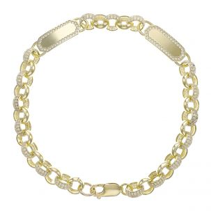 "Child's 9ct Gold Gem-Set Double  ID Belcher Bracelet - 7.5mm -7.5"""
