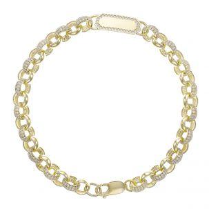 """9ct Gold Gem-Set ID Belcher Bracelet - 7.5mm - 6.5"""" - Childs"""