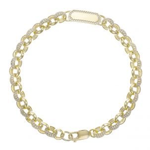 "Men's 9ct Yellow Gold Gem - Set ID Belcher Bracelet - 7.5mm - 9"""