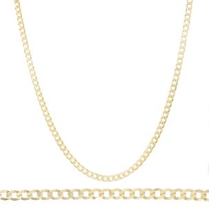 "SOLID 9ct Gold - Italian Bevelled Edge Curb Chain - 24"" - 4mm"