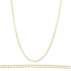 "SOLID - 9ct Gold Italian Bevelled Edge Curb Chain - 20""- 3 mm"