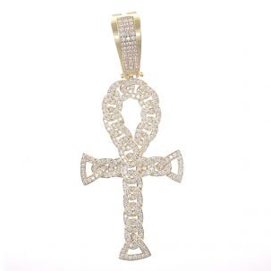 9ct Yellow Gold Iced Out Gemset Curb Link Ankh Cross Pendant
