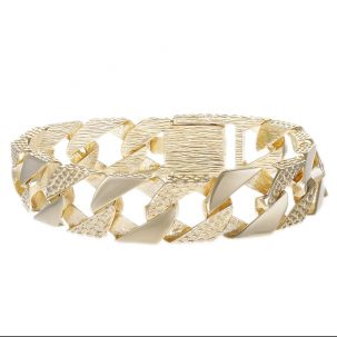 """9ct Gold Solid Textured Square Curb Bracelet - 16mm - 9"""" - Gents"""