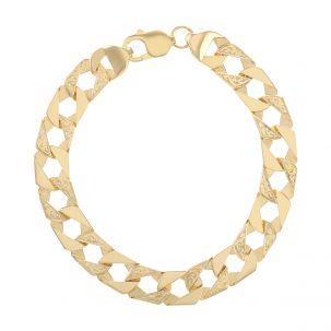 "9ct Gold Patterened Square Curb Bracelet - 10mm - 9"" - Gents"