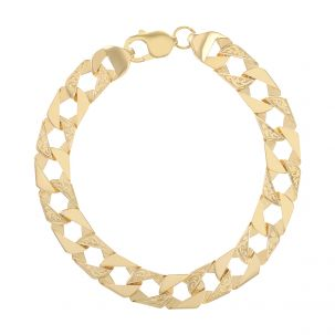 """9ct Gold Solid Textured Square Curb Bracelet -10mm - 7.5"""" - Ladies"""