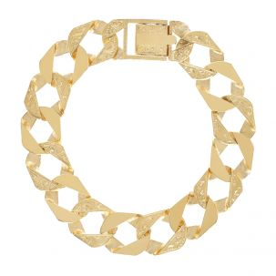 """9ct Gold Solid Textured Square Curb Bracelet - 15mm - 9"""" - Gents"""