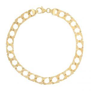 "9ct Gold Textured Solid Square Juniors Curb Bracelet - 6.5""- 8mm"
