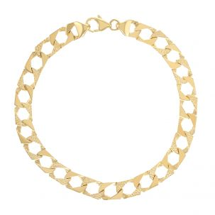 """9ct Gold Textured Sold Square Child's Curb Bracelet - 6"""" - 8mm"""