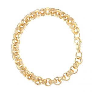 "9ct Solid Gold Tight Link Textured Round Belcher Bracelet - 9""- 9mm"