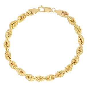 "9ct Yellow Gold Italian Classic Rope Bracelet - 8 "" - 6mm - Ladies"