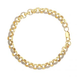 """9ct Gold Ladies Gem-Set Belcher Link Bracelet -  7.5mm - 8 """""""