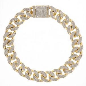"""9ct Gold Men's Gem-Set Cuban Link Bracelet- 12mm  - 8.25"""""""