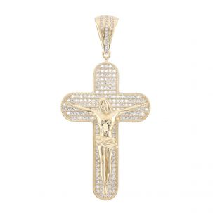 9ct Yellow Gold Iced Out Gem Set Big Crucifix Cross Pendant