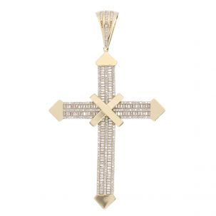 9ct Yellow Gold Iced out Gem Set Big Cross Pendant