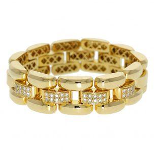 "Pre-Owned 18ct Gold Fancy Link Diamond Set Bracelet 7"""