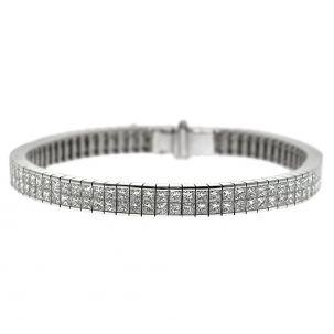 "CERTIFIED 18ct White Gold 14.05ct Diamond Set Tennis Bracelet -7"""