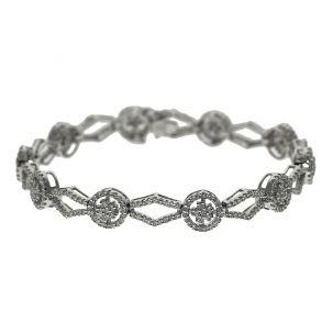 "CERTIFIED 18ct Gold 2.46ct Diamond Cluster Bracelet 7"""