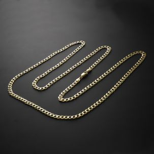 9ct Yellow Gold Italian SOLID Bevelled Edge Curb Chain - 20""