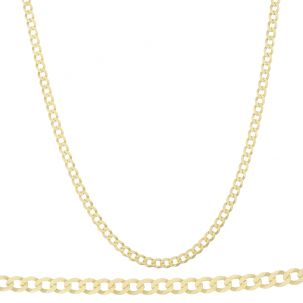 "SOLID 9ct Yellow Gold Italian Bevelled Edge Curb Chain- 24"" - 5mm"